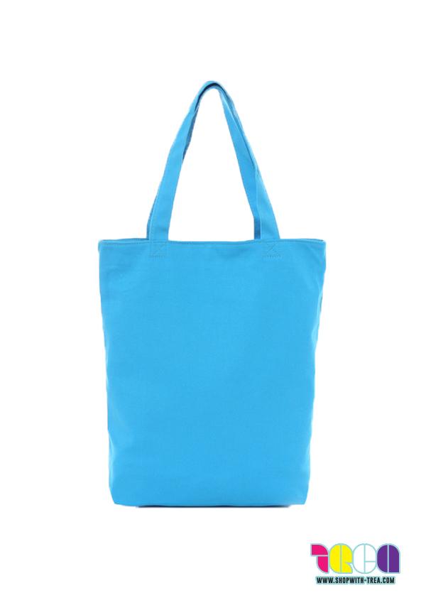 Premium blue canvas bag printing