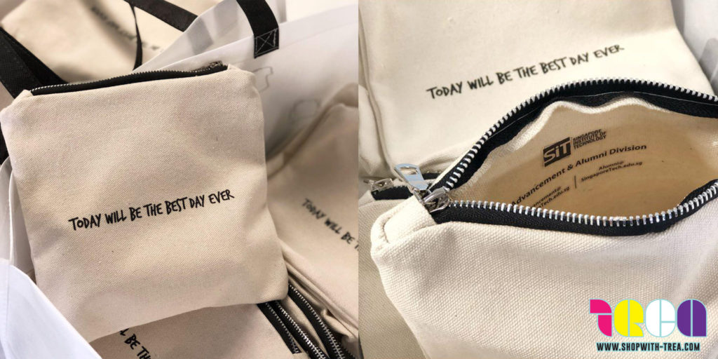 Personalise cream zip pouch