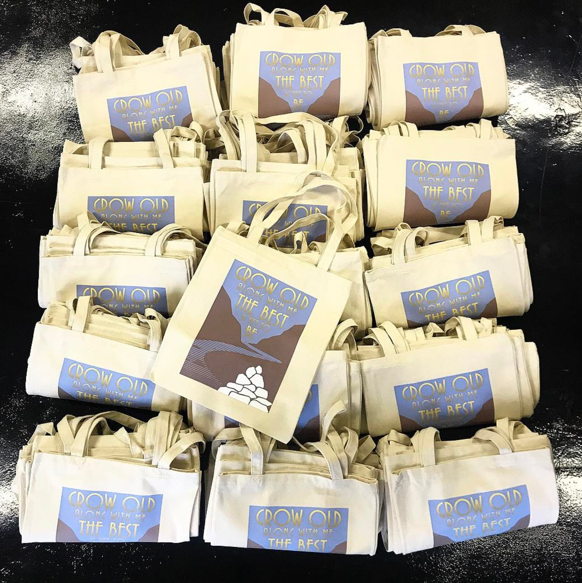 Customise cream canvas bag printing