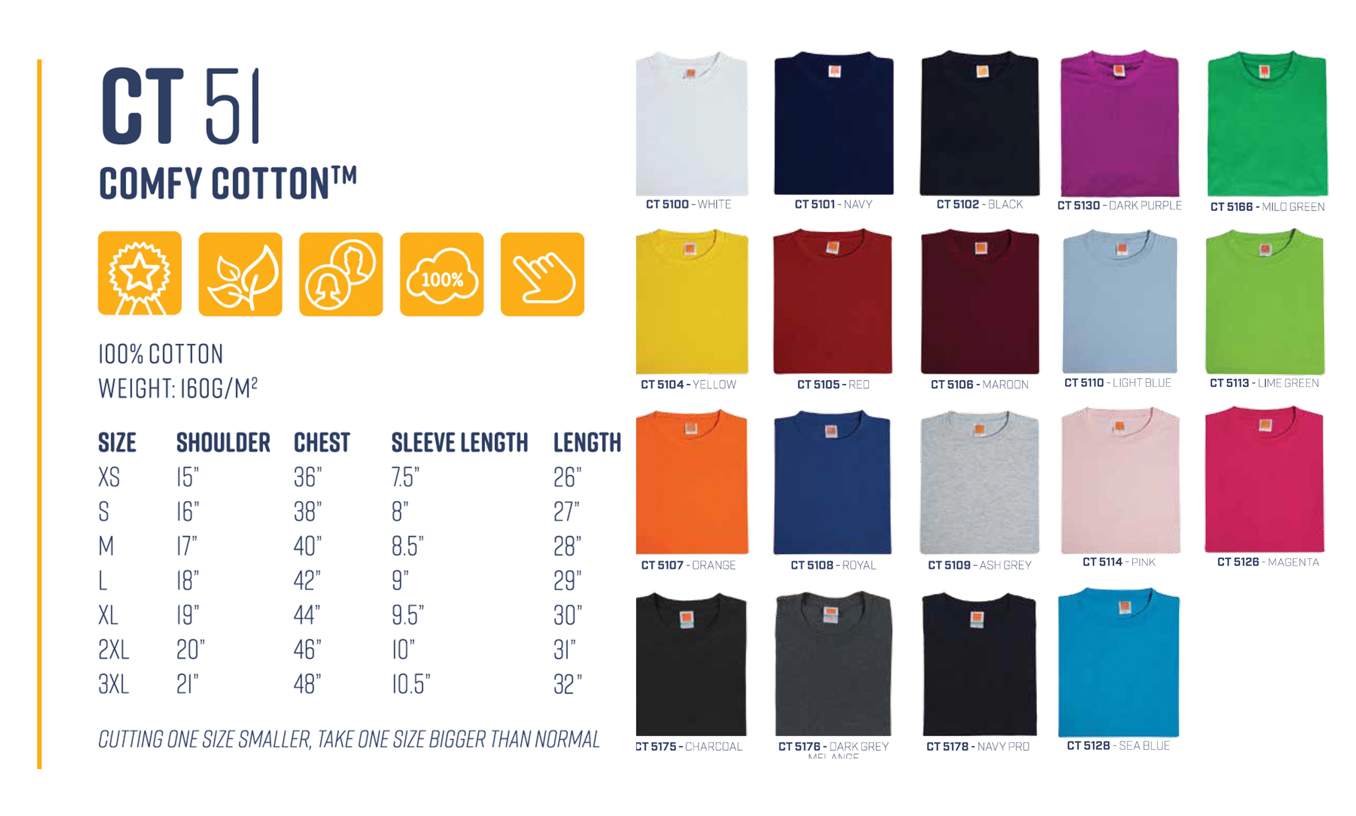 Customise cotton t-shirt size chart