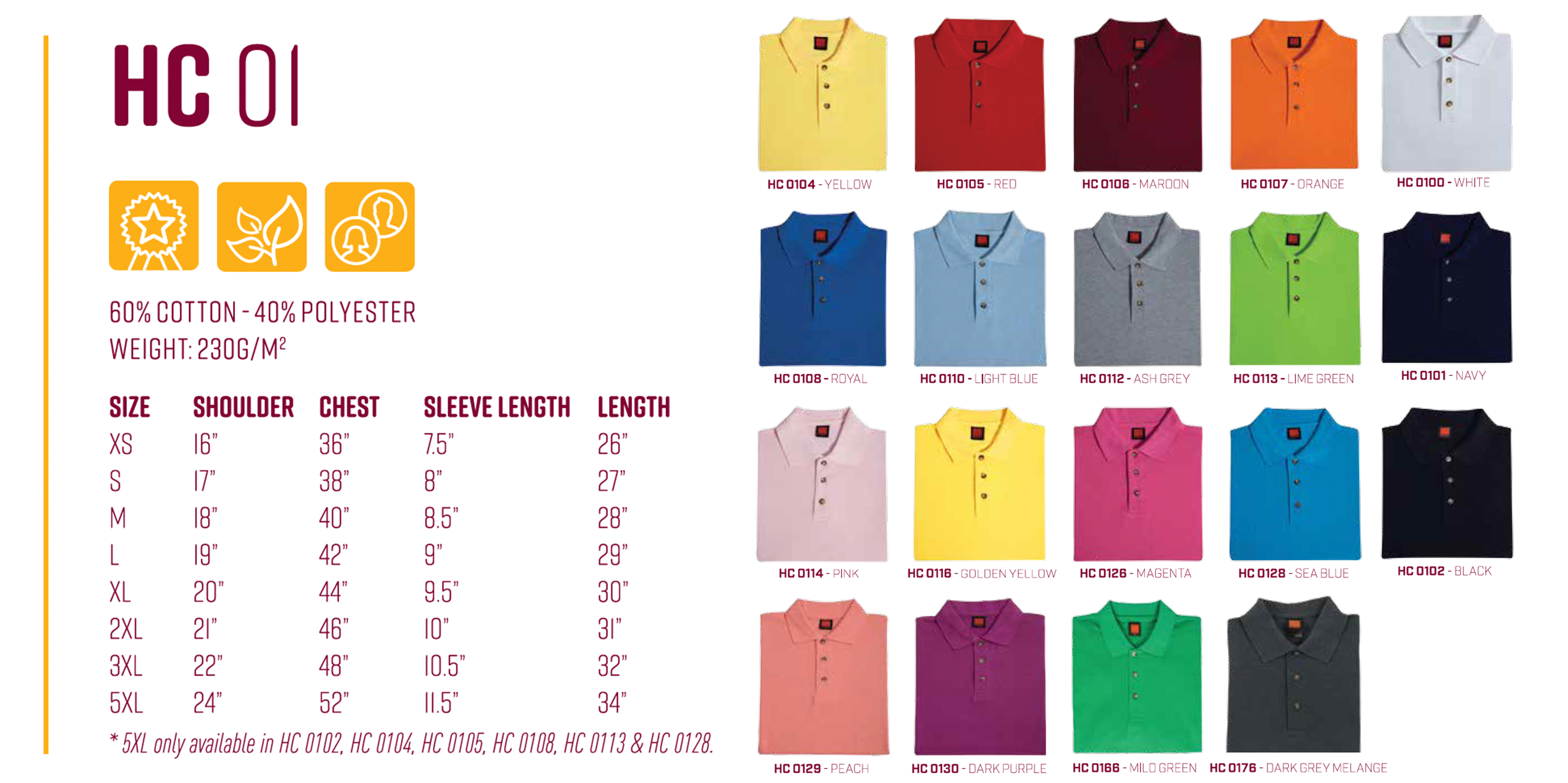 customize polo t-shirt size chart