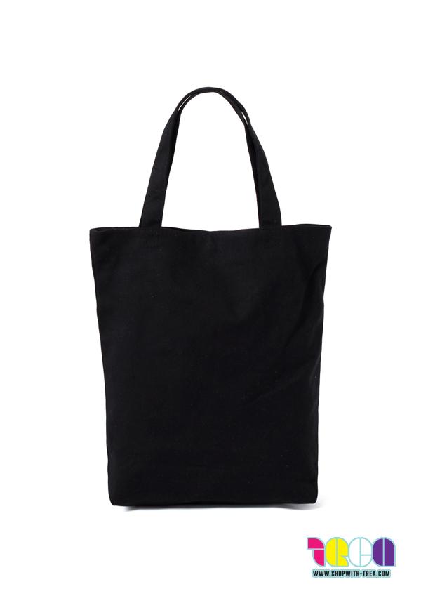Premium black canvas bag printing