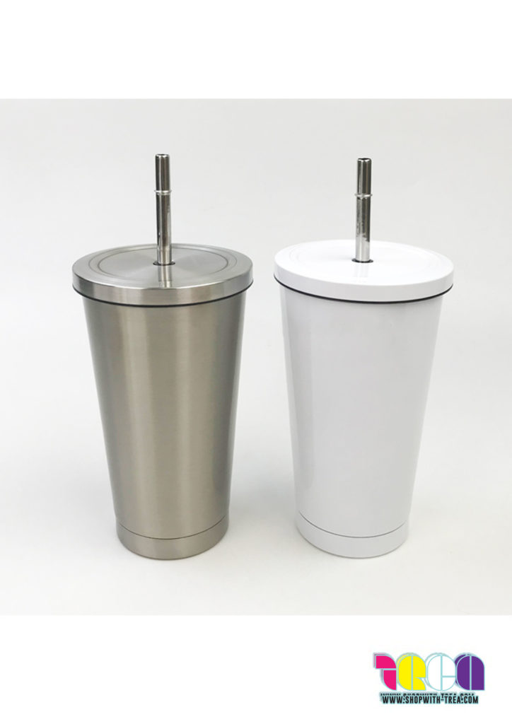 stainless steel cold cup with straw