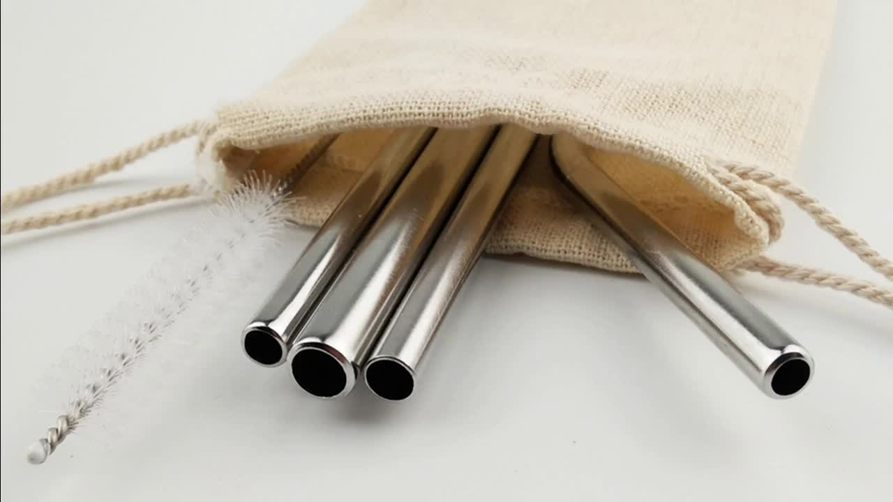 stainless steel straw with pouch