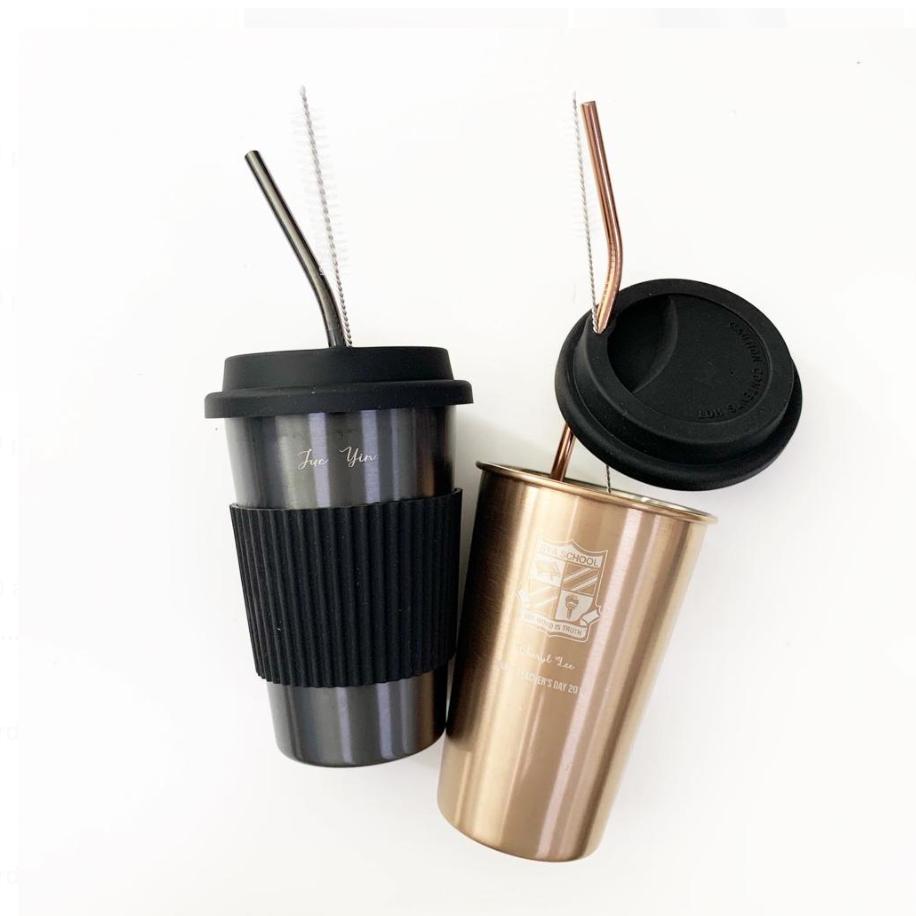 Stainless Steel Mug with Straw (Custom Name)