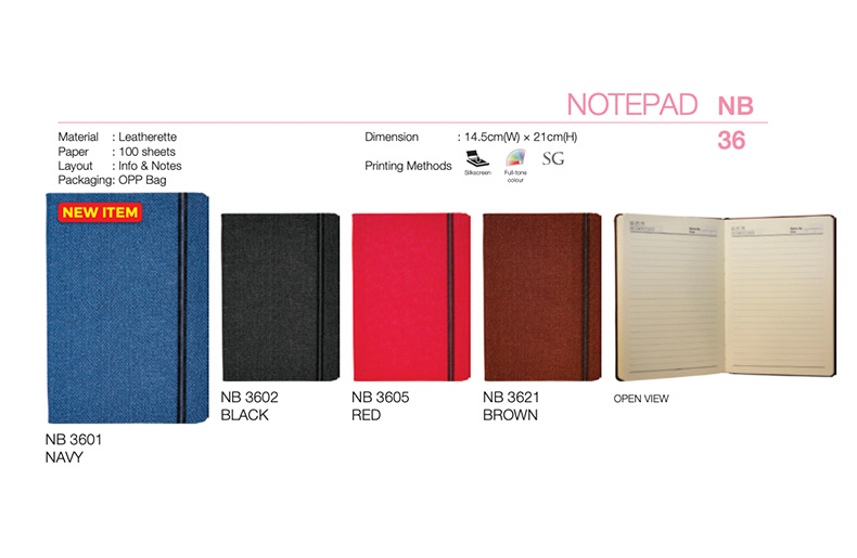 Banded Leatherette Notebook (NB36)